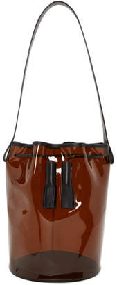 Building Block Brown and Black PVC Bucket Bag