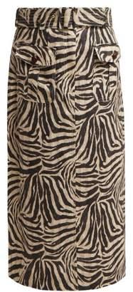Zimmermann Corsage Zebra Print Safari Midi Skirt - Womens - Animal