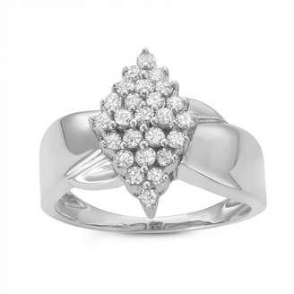 FINE JEWELRY Womens 1/2 CT. T.W. Round White Diamond Sterling Silver Cluster Ring
