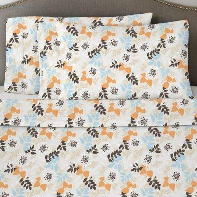 Bed Bath & Beyond Pointehaven 170 GSM Winter Breeze Flannel Twin Sheet Set in White/Orange