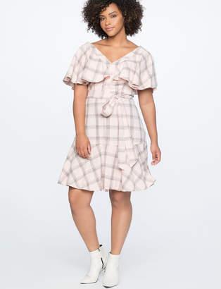 Plaid Dress with Flare Sleeve