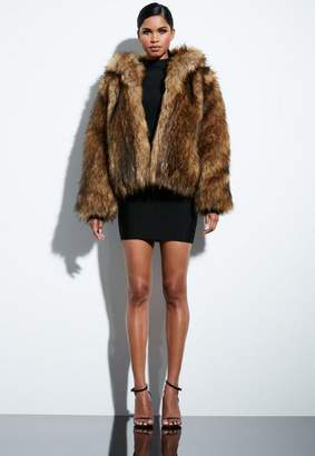 Missguided Brown Faux Fur Hooded Coat