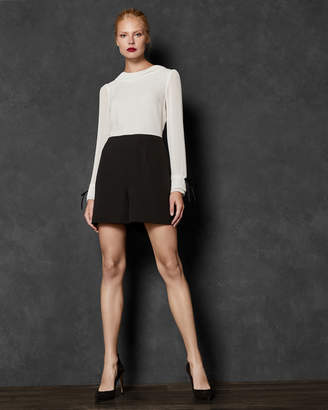 Ted Baker FAYT Contrast pleated sleeve playsuit