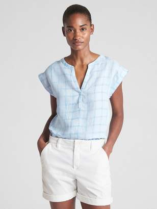 Gap Short Sleeve Plaid Popover Shirt in Linen