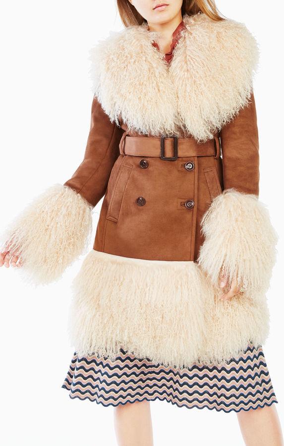 BCBGMAXAZRIAGigi Shearling-Trim Coat