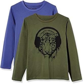 Kid Nation Kids' 2-Pack Short-Sleeve Crew-Neck T-Shirt for Boys Girls Medium White + Black Stripe