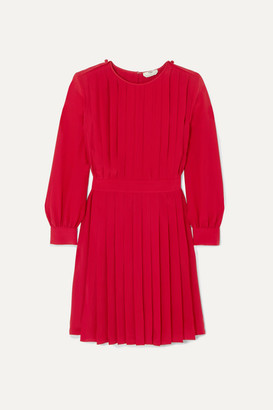 Fendi Pleated Silk Crepe De Chine Dress - Red