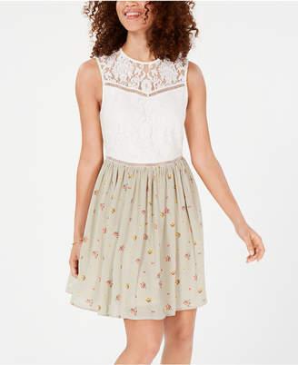 970820e98e5 City Studios Juniors  Lace   Floral Stripe Dress