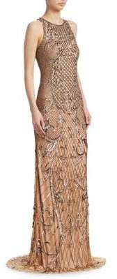 Theia Women's Beaded Sleeveless Gown - Bronze - Size 0