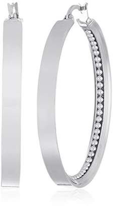 Kenneth Cole New York Silver Textured Hoop Earrings