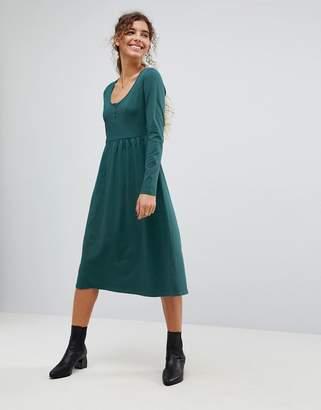 Asos Midi Smock Dress With Button Placket