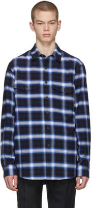 Marcelo Burlon County of Milan Blue Short Sleeve Check Parrot Shirt