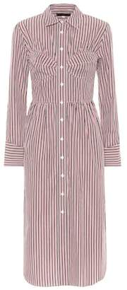 ALEXACHUNG Striped bustier cotton shirt dress
