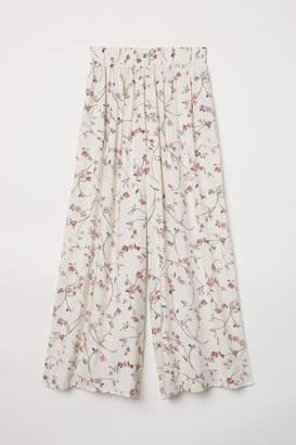 H&M Cropped Viscose Pants - White
