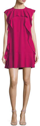 RED Valentino Ruffle-Front Crepe Shift Dress