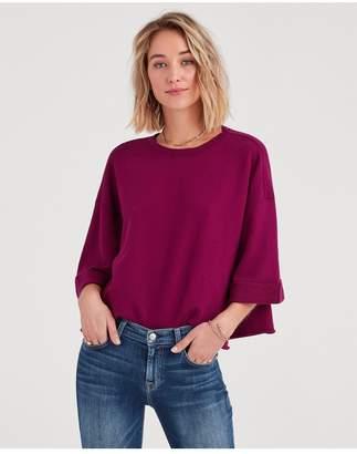 7 For All Mankind Drop Shoulder Sweatshirt In Deep Fuschia