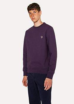Paul Smith Men's Dark Violet Organic-Cotton Zebra Logo Sweatshirt