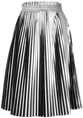 Maison Margiela Black And Silver Pleated Faux Leather Skirt