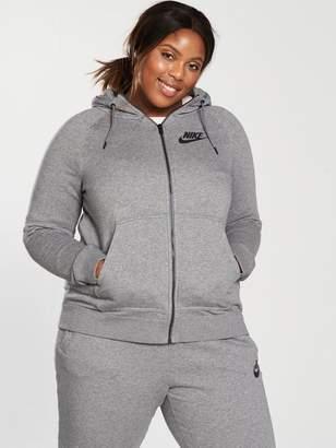 Nike Sportswear Full Zip Rally Hoodie (Curve) - Grey Heather