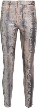 L'Agence Margot Foiled Python Skinny Jeans