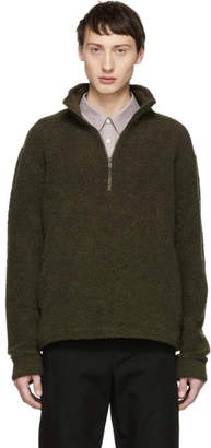A.P.C. Khaki Beaver Zip-Up Sweater