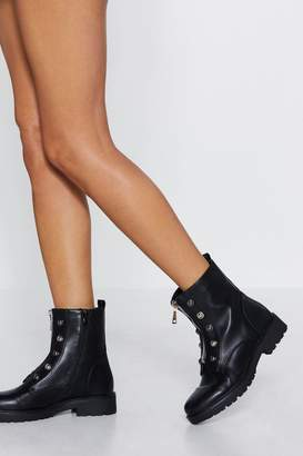 Nasty Gal Army Of Me Faux Leather Boot