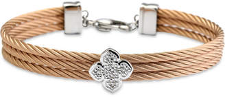 Charriol Le Fleur Silver Bangle with White Topaz in Stainless Steel and Rose Gold
