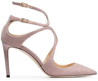 Jimmy Choo ballet pink Lancer 85 glitter leather sandals