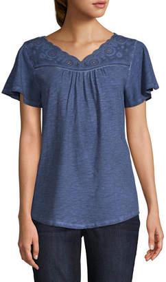 ST. JOHN'S BAY Eyelet V- Neck Garment Wash Tee - Tall