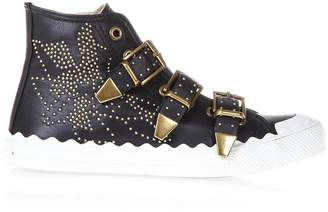 Chloé Kyle Spikes Black Leather High-top Sneakers