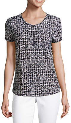 Liz Claiborne Short Sleeve Henley T-Shirt