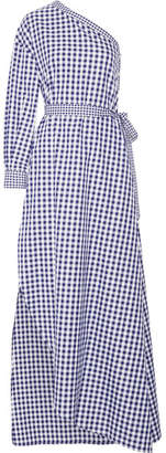 Rosetta Getty - One-shoulder Gingham Cotton Wrap Gown - Royal blue