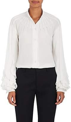 Zac Posen Women's Crepe Ruffle-Sleeve Blouse