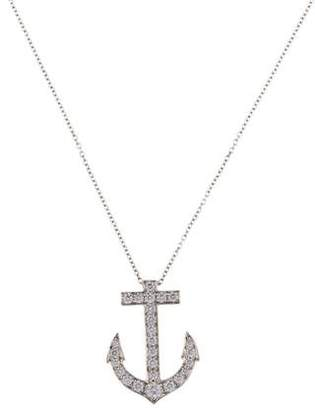 Tiffany & Co. Platinum Diamond Anchor Pendant Necklace
