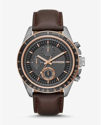 Express brown leather strap multi-function watch