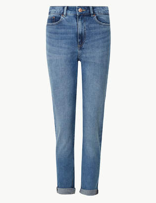 Marks and Spencer Mid Rise Cropped Relaxed Slim Jeans