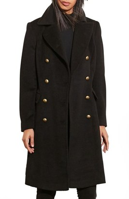 Women's Lauren Ralph Lauren Skirted Wool Blend Military Coat $320 thestylecure.com