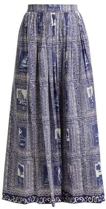Le Sirenuse Le Sirenuse, Positano - Jane Postcard Print Cotton Midi Skirt - Womens - Dark Blue