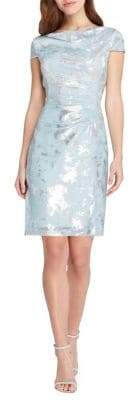 Tahari Arthur S. Levine Cowlneck Foil Sheath Dress