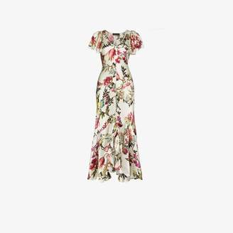 Etro Floral print ruffled slit dress