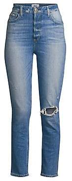 Paige Women's Sarah High-Rise Distressed Slim Straight Jeans
