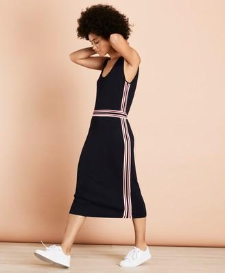 Brooks Brothers Stripe-Trimmed Sweater Dress