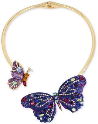 """Betsey Johnson Gold-Tone Glittery Stone Butterfly 16"""" Collar Necklace"""