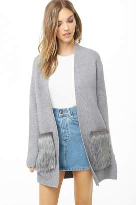 Forever 21 Faux Fur Pocket Cardigan