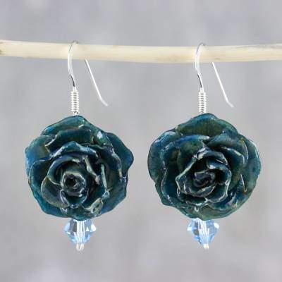 Captured Beauty in Teal Resin Dipped Teal Real Miniature Rose Dangle Earrings