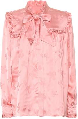ALEXACHUNG Jacquard satin blouse
