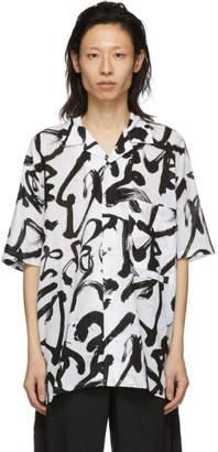 Kozaburo White and Black Caligracamo Boxy-Fit Shirt