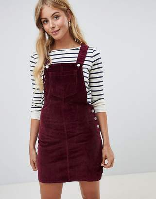 Brave Soul Alexa Dungaree Dress in Cord