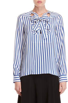 Derek Lam Striped Lace-Up Blouse
