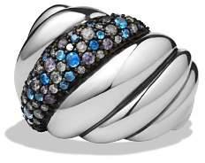 David Yurman Hampton Cable Ring with Gray Diamonds & Blue Sapphires